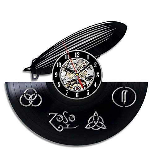 Menddy Hohl Runde Vinyl Schallplatte Uhr Kreative Mode Zeppelin Air Wanduhr Wanduhr Retro Wanduhr Mit Led-Licht 12 Zoll