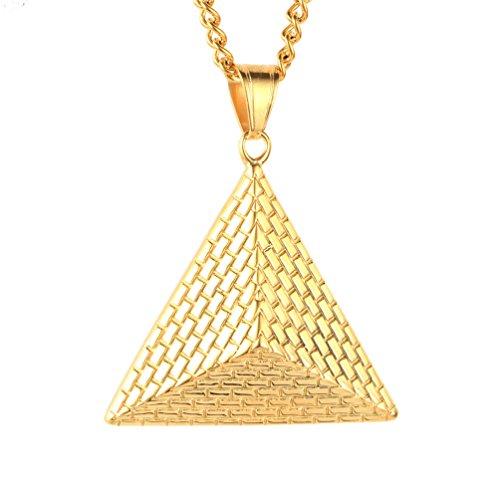 PAURO Collar de cadena de acero inoxidable egipcia de época pirámides colgante de oro para hombre de la boda de Promise