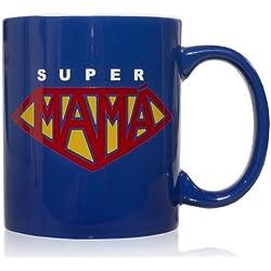 Taza mug desayuno de cerámica azul 32 cl. Modelo Super Mamá
