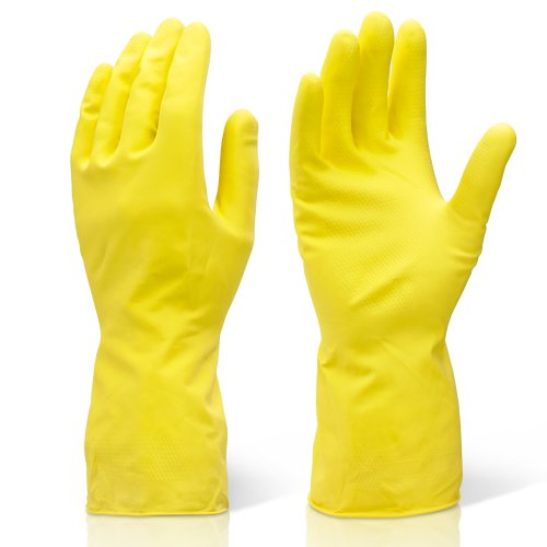 2 Pairs Of Large Yellow Industrial Cleaning & Washing Up Rubber Gloves. Comes With TCH Anti-Bacterial Pen!…