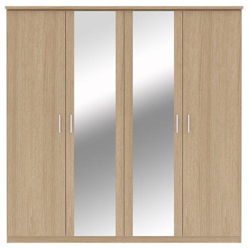 Bronte - Armadio a 4 ante con specchio, effetto rovere