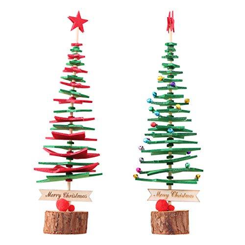 VORCOOL Weihnachtsbaum DIY Vliesstoff Ornamente Mini Xmas Tree Favors (Grün/Rot)