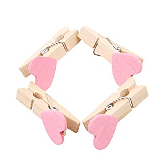 VWH 10Pcs/Set Mini Pegs Clothes Craft Pegs Wooden Photo Clips Heart Shape (pink)