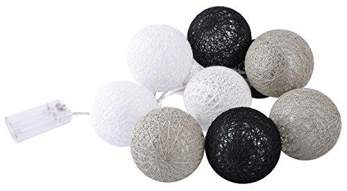 Iso Trade Cotton Ball Lights Grau Schwarz Weiß 10 er Lichterkette Baumwolle Kugel #3653, Farbe:Grau -