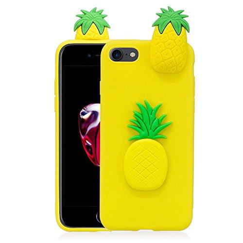 Coque iPhone 7 , Etui iPhone 8 , CaseLover 3D Etui Coque TPU Slim pour Apple iPhone 7 / Apple iPhone 8 (4.7 pouces) Mode Flexible Souple Soft Case Couverture Housse Protection Anti rayures Mince Trans Ananas