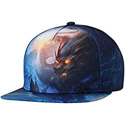 NUZADA Snapback Cap Sombrero con Visera Plano Estampado Dragón Gorra Unisex para Hombre Mujer Verano Playa - Dragón