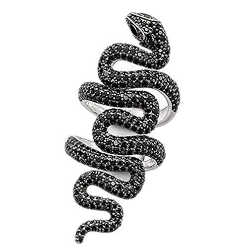 Wale-Fall Schlangenring Silber Schwarz CZ Pavé-Fassung offen Doppelring Schlangenring Schmuck für Damen Herren