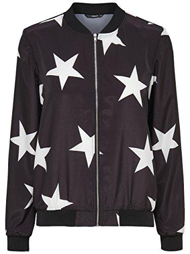 9421d2c30046f0 ONLY Damen Blouson Piloten-Jacke MEGASTAR BOMBER JACKET Sterne schwarz weiß  (38)