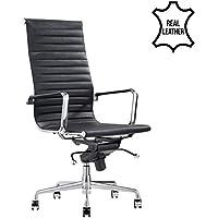 Design-Schreibtisch-Stuhl - Madrid Schwarz - Bürostuhl Ergonomisch - 100% Echt-Leder - Bürostuhl 15 kg - Drehstuhl mit Rollen & Armlehnen - Buro Stuhle in Verschiedene Farben