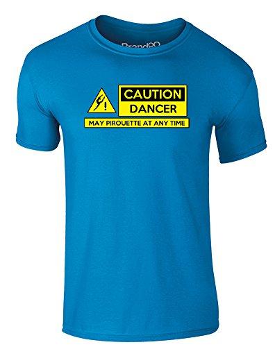 Brand88 - Caution Dancer, Erwachsene Gedrucktes T-Shirt Azurblau