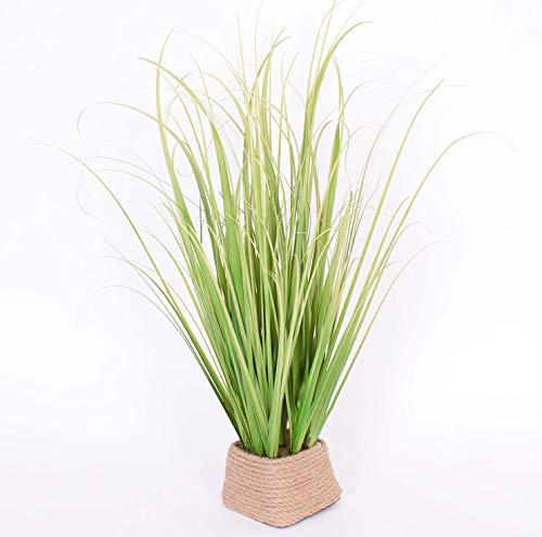 Kunstpflanze Grasbüschel Grün/Gelb im Korb 45 cm