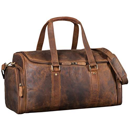 STILORD \'Myles\' Vintage Reisetasche Herren Leder Weekender zum Umhängen Overnight Duffle Bag Großes Reisegepäck XL echtes Rindsleder, Farbe:mittel - braun