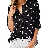 OverDose Damen Herbst Elegante Frauen Arbeit Büro Dot Print Grau Casual Langarm Shirt Bluse Top Grill Party Freizeit Anzug