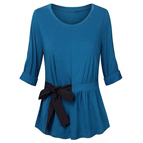 iYmitz Damen Mode Weisedamen Lange Ärmellänge O-Ansatz Solide Rundausschnitt Hemden Beiläufige Fliege Blusen Tops(X2-Blau,EU-38/CN-M) - Kleid Hemd Ärmellänge
