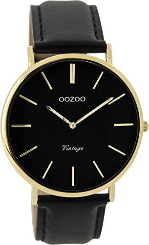 Oozoo Vintage Damenuhr Lederband 40 MM Goldfarben/Schwarz/Schwarz C9300