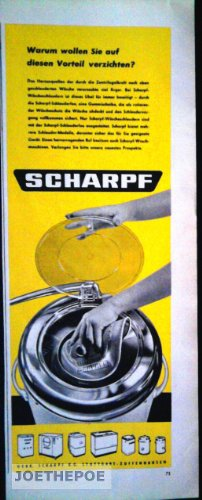 1960 : Anzeige: SCHARPF WÄSCHESCHLEUDERN - Format: ca. 100 x 285 mm - alte Werbung /Originalwerbung/ Printwerbung /Anzeigenwerbung