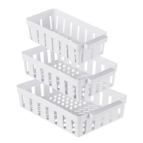 genialo Kühlschrank-Korbset 3 Stück, Aufbewahrungsbox Ablagefach, platzsparender Organizer, Küche, Kunststoff, 14 x 26-22 x 32 cm, weiß