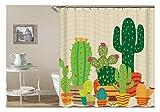 Amody 3D-Digitaldruck Kaktus Duschvorhang Bad Vorhang Durable Wasserdicht Bad Vorhang Bunte Größe 90x180CM