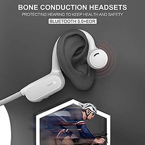 happygirr Knochenleitung Bluetooth Headset Kopfhörer Wireless Bluetooth schweißabweisende Ohrhörer mit Mikrofon für…