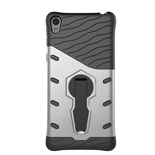 Für Sony E5 Case Tough Hybrid Heavy Duty Schock Proof Defender Cover Dual Layer Rüstung Combo Mit 360 ° Swivel Stand Schutzhülle Fall ( Color : Silver ) Silver