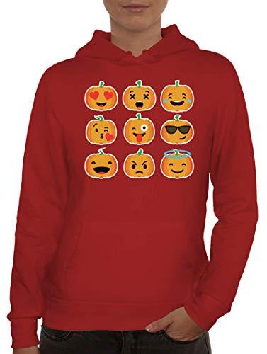 ShirtStreet Partner Gruppen Pumpkin Damen Hoodie Frauen Kapuzenpullover Halloween Emojis, Größe: XL,Rot