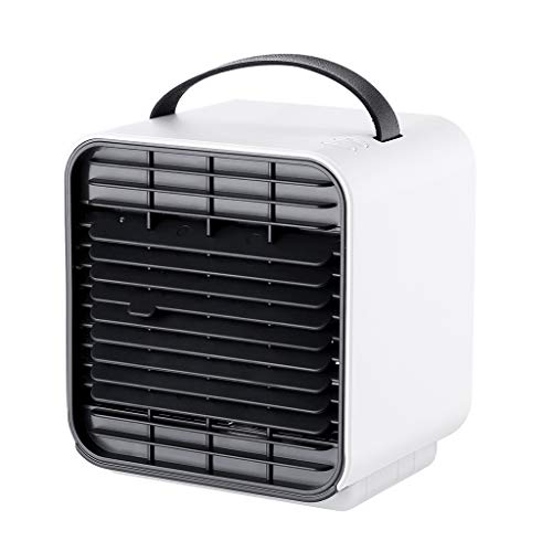 Aire Acondicionado Portátil Enfriador,Climatizador Evaporativo, Aire Acondicionado, 3-en-1 Mini Enfriador Humidificador Purificador de Aire Aire Acondicionado para Casa/Oficina/Camper/Garaje (Blanco)