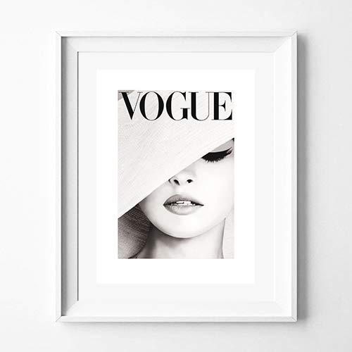 Poster fotografie VOGUE abdeckung hellgrau weich, Dekoration für Haus , verschiedene Größen erhältlich (40 x 50 cm)