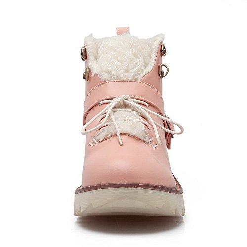 AllhqFashion Damen Niedrig-Spitze Gemischte Farbe Schnüren Niedriger Absatz Stiefel Pink