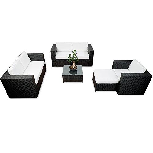 17tlg. Polyrattan Lounge Möbel Set für Balkon und Terrasse ...