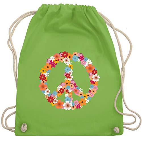 Statement Shirts - Peace Flower Power - Unisize - Hellgrün - WM110 - Turnbeutel & Gym Bag