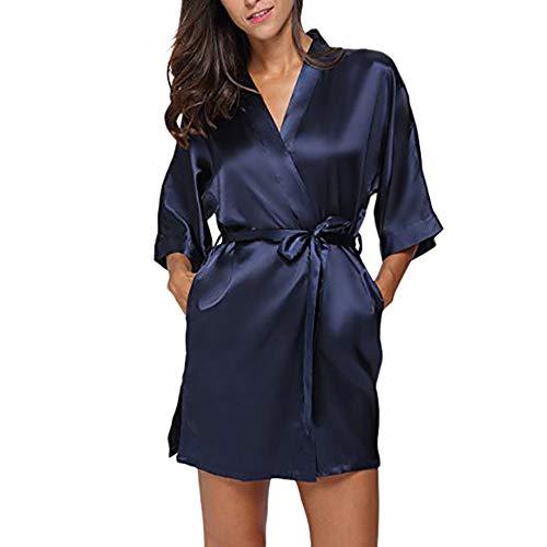Elecenty Damen Nachtwäsche Minikleid Frauen Bandage Knielang Taschen V-Ausschnitt Kimono Pyjama Langarmkleid