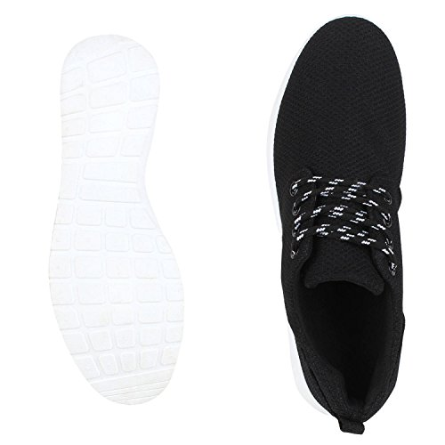 napoli-fashion Flache Unisex Damen Herren Laufschuhe Profilsohle Sportschuhe Schnüren Sneakers Freizeitschuhe VanHill Black White