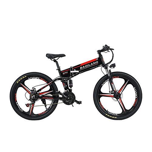 BNMZX Bicicleta eléctrica de Bicicleta de montaña Plegable, ciclomotor Adulto, Bicicleta de montaña para Adultos de 26 Pulgadas, Campo a través, duración de batería de 60 km,Black-Three-Knife Wheel
