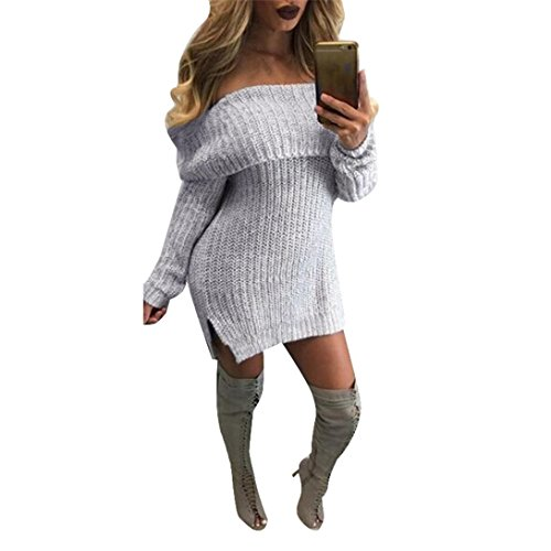 Elecenty Damen Schulterfrei Cardigan Stricken Kleid Strickpullover Strickjacke Pullover Strickwaren, Lose Bluse Jumper Pulli Sweatshirt Übergröße Sweater Jumper Tops Winterpullover Outwear