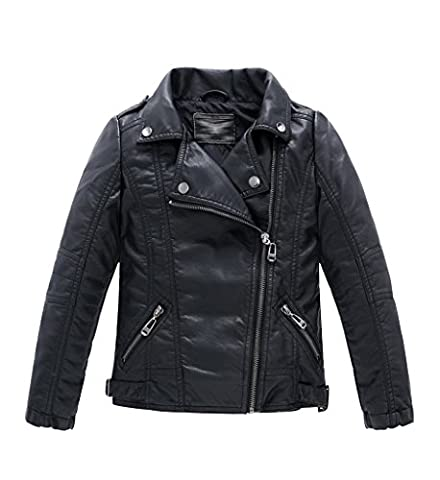 YoungSoul Blouson Motard Faux cuir Fille Garcon - Veste en simili cuir - Manche Longue - Manteau Automne D'hiver pour Enfant Noir 10-11T/Stature 150 m