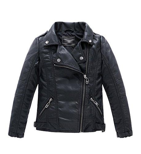 YoungSoul Jungen Mädchen Kunst Lederjacke Kragen Motorrad Leder Mantel Kinder Biker Style Herbst Winter Jacke mit Fellkragen Schwarz 2-3T/Körpergröße 105cm (Lässige Herren-leder-jacke-mantel)