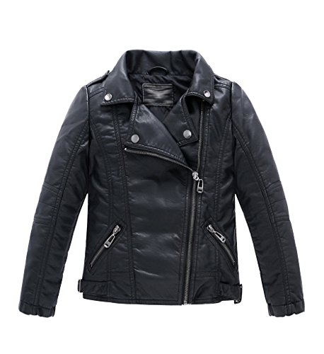 YoungSoul Jungen Mädchen Kunst Lederjacke Kragen Motorrad Leder Mantel Kinder Biker Style Herbst Winter Jacke mit Fellkragen Schwarz 7-8T/Körpergröße 135cm