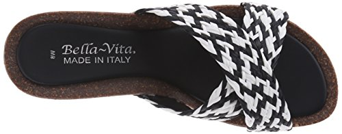 Bella Vita Pavia Femmes Cuir Sandales Compensés Black-White