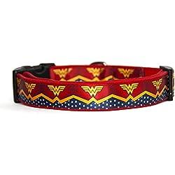 Wonder Woman Dc Comics Collar Perro Hecho A Mano Talla L HandMade Dog Collar