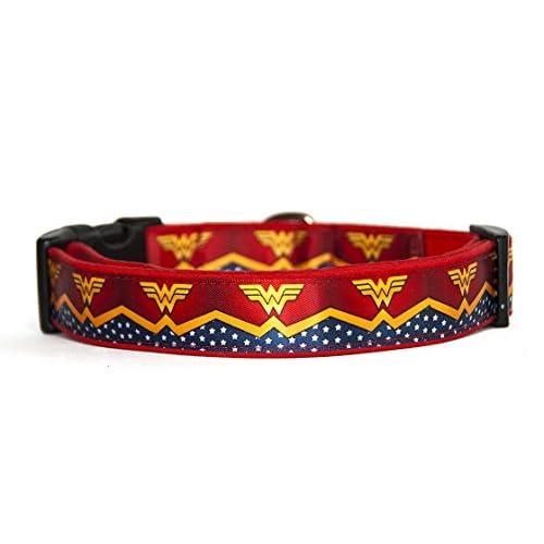 Wonder Woman DC Comics Collar Perro Hecho A Mano Talla M Handmade Dog Collar 1