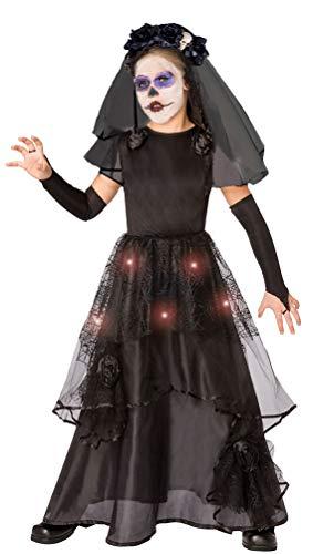 Des Tag Kindes Kostüm Toten - Karneval-Klamotten Tag der Toten Kostüm Mädchen La Catrina Kostüm Kinder-Kostüm Halloween mit Licht Größe 140-152