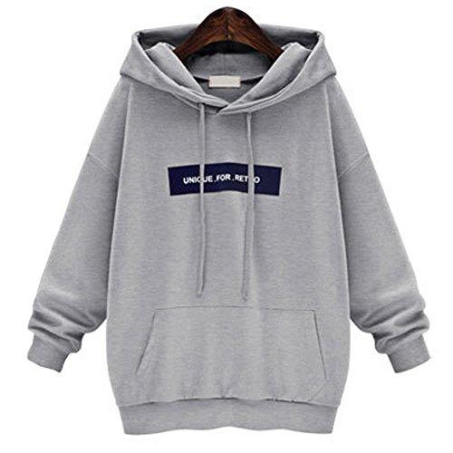 Hmeng Langärmelige Einfache Art Hoodie Sweatshirt Jumper mit Kapuze Pullover (Grau, 3XL)