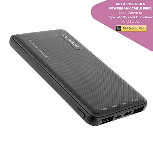 Stuffcool Type-C 3A Fast Charge 10000mAh Li Polymer Power Bank for Smartphones - Textured Housing – Black