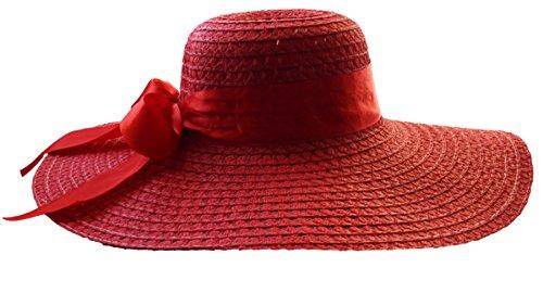 Basthut diamètre :  46 cm strandhut chapeau pour femme taille unique dans 10 couleurs - Rouge