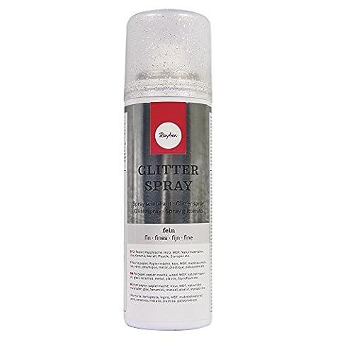 Rayher Hobby 34088606 Hochwertiger Glitzerspray mit silbernem Glimmer-Effekt. Gleichmäßiger, extra feiner Sprühnebel verleiht Oberflächen Glitter-Brillanz. Dose 125 ml