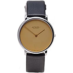 Stahl SWISS MADE Wrist Watch Model: ST61479 - Stainless Steel - Extra Large 36mm Case - Arabic and Bar White Dial