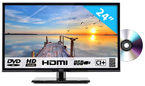 HKC 24C2NBD: 60,50 cm (24 Zoll) LED Fernseher mit DVD-Player (HD Ready, Triple Tuner, CI+, HDMI, Mediaplayer via USB 2.0) [Energieklasse A+] Hd Tuner Hdmi