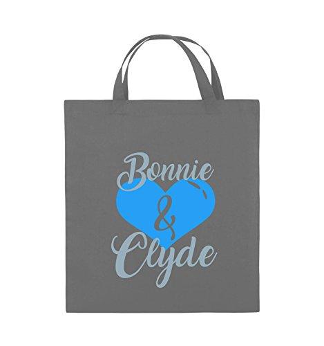 Comedy Bags - Bonnie & Clyde - HERZ MOTIV - Jutebeutel - kurze Henkel - 38x42cm - Farbe: Schwarz / Weiss-Neongrün Dunkelgrau / Eisblau-Blau