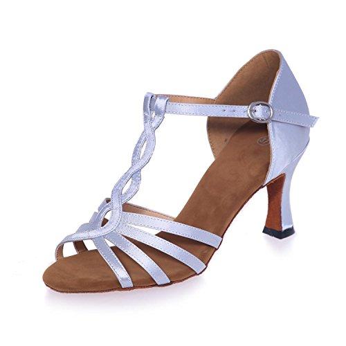 L @ yc Femmes Latine Chaussures De Danse Pu Avec 7.5cm Boucle Interne Coutures Nude / Multi-couleurs Grands Chantiers Blanc