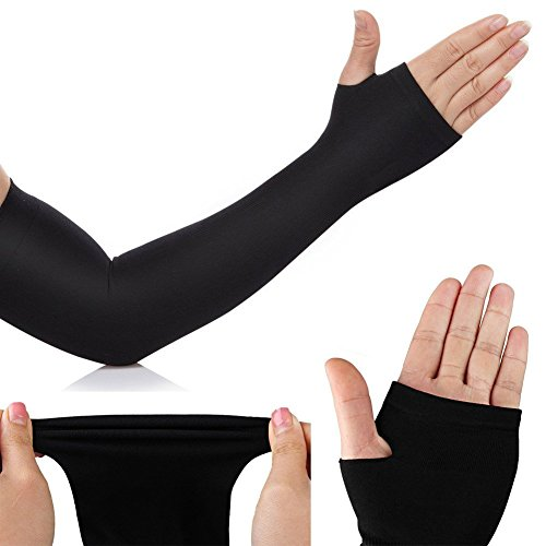 Mild compression full arm sleeves with thumb holes Sports armlet - 1 pair for cooling and UV Protection for cycling running hiking outdoor sports